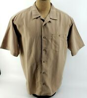 Cabelas Twin Lakes Short Sleeve Button Up Shirt Taupe Light Brown Mens XL