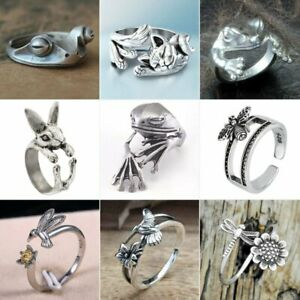 Retro Frog Rabbit Animal Finger Ring Women 925 Silver Personality Punk Jewelry