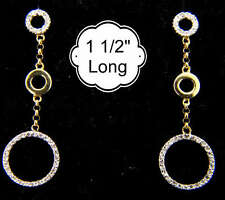 14k Yellow GOLD Antique Genuine DIAMOND Circle Earrings