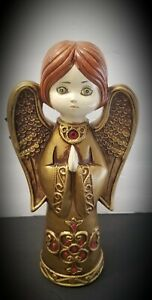 VINTAGE DICKSON PAPER MACHE ANGEL Red Jewels GOLD 1960's