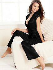 NEW STUNNING BLACK  SATIN & LACE TOP & SHORTS PANTS PJ GIFT PYJAMA SET - SIZE10