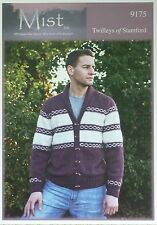 KNITTING PATTERN Mens Long Sleeve Roll Collar Striped Jacket DK Twilleys 9175