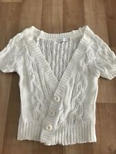 Mink Pink Shortsleeve Cotton Knit Crochet Cardigan