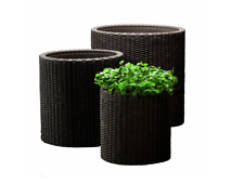 Keter™ Brown Rattan Style Garden Planters Set of 3 Round Plant Pots