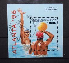 "FRANCOBOLLI STAMPS BENIN 1996 ""OLIMPIADI / OLYMPICS ATLANTA"" USED BLOCK (CAT.5A)"