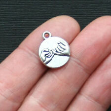 8 Pinkie Swear Charms Antique Silver Tone Best Friend Charm 2 Sided - SC2839