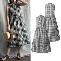 ZANZEA Womens Vintage Sleeveless Check Plaid Casual Loose Tunic Midi Shirt Dress