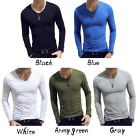 Men Casual Long Sleeve Slim Fit V-Neck Gym Sports T-shirt Tops Solid Basic Tee