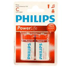 Philips Confezione 2 Batterie Alcaline Alkaline C Mezza Torcia LR14 1,5V