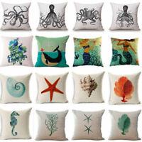 Marine Ocean Creature Animal Cotton Linen Pillow Cover Case Sofa Cushion Cover