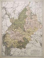 Irish Map County LONGFORD Ireland Drumlish Edgeworthstown PW Joyce 1905 7x9.5