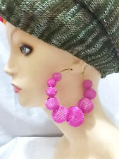 Fuchsia Pink Circle Bubble Hoop Disc Earrings Statement Basketball Wives