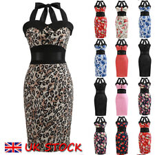 UK Women Vintage 50s 60s Bodycon Evening Party Housewife Rockabilly Retro Dress