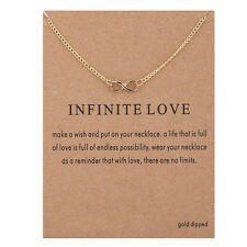 18K Gold Plated Dainty Infinity Infinite Love Inspirational Message Necklace