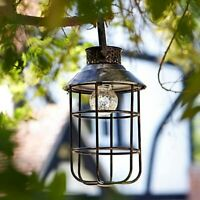 Solar Power Hanging Garden Lantern Table Rustic Vintage Antique Effect Outdoor