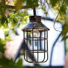 Solar Power Hanging Garden Lantern Table Rustic Vintage Antique Effect Outdoor