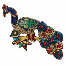 Indian Traditional Royal Peacock Motif Beaded Embroided Applique Swing Patches