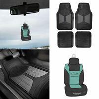 Black Gray 2 Tone Floor Mats for Car SUV Van All Weather w/ Free Freshener