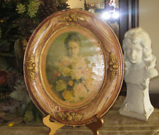 Vtg Style Oval Ornate Picture Frame w/ Lady Woman Print Retro Victorian Style