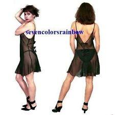 PLUS SIZE Black Red Leopard print chiffon chemise 1X 2X 3X 4X 5X lingerie T5515