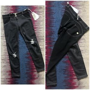 Freddy Wr Up Washed Black Ripped Knee Skinny Push Up Jeans Size M BNWT RRP £109