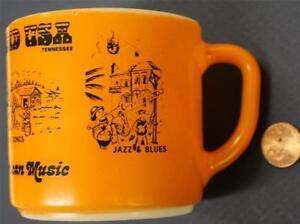 1970s Era Nashville,Tennessee Opryland USA orange-milkglass mug-Jazz-folk songs*