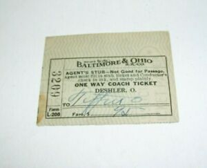 1939 Baltimore & Ohio Train Ticket Stub Coach