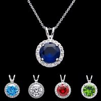 1.5ct Round Gemstone Halo Created Diamond Birthstone Pendant 925 Sterling Silver