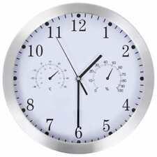 vidaXL Reloj Pared Termómetro Higrómetro Cuarzo Cocina Baño Sala Blanco Plata