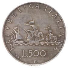 COPIA moneta ITALIA 500 lire CARAVELLE Repubblica Italiana busto di donna