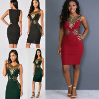 Fashion Women Lace Bodycon Dress Slim Sleeveless V-Neck Party Pencil Mini Dress