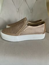 Restricted Mesh Perforated Slip On Platform Sneakers Rose Gold 7 1/2