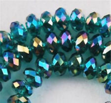 95 pc Faceted 4x6MM round crystal glass beads Malachite color 15''