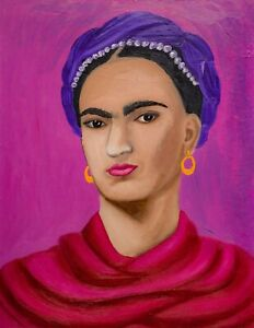 Frida Kahlo Portrait Oil Painting Young Woman Pop Art Feminist Mexican Wall Art