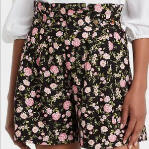 NWT Women's Button Detail Paperbag Shorts -WHO WHAT WEAR Black Pink Floral 16