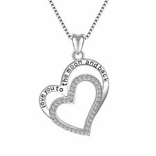 925 Silver Charm Love Heart Jewelry Women Pendant Fit Sterling Necklace Chain