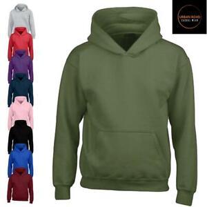 Kids Urban Road Heavy Blend Plain Hoody Hooded Sweatshirt Top for Boys & Girls