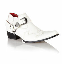 Guciani Italian Style Mens Leather Look Cow Boy Pointed Western Harness Boots