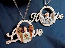 """Love & Hope ANGEL Medallion Ornament Set of 2 Merry By Christmas House  2¾""""x 5"""""""