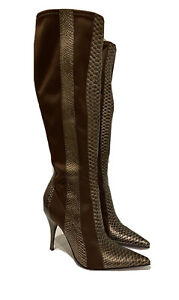 Carlos Santana Boots Justice Embossed Stretch Fabric Stiletto Heel Pointed Toe 6