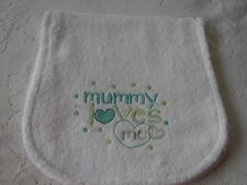 Mummy Loves Me Embroidered White Towelling Burp Cloth