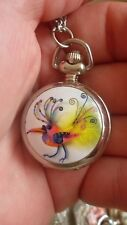 fashion art bird enamel necklace pendant pocket watch vintage style chain