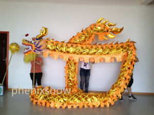 Chinese DRAGON DANCE Gold plated Parade Costume stage prop 4m 4 student