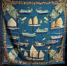 HERMES silk scarf carre foulard junques et Sampans Francoise de la PERRIERE 90 cm