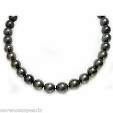 Tahitian Pearl Necklace 16 - 12 mm Midnight Black 14kt White