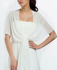 Stola Cape Chiffon Schal weiß für Abendkleider Brautkleider Hochzeitskleid NEU