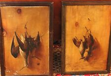 PAIR Antique Trompe L'oeil Paintings Dead Game Birds Hanging On Nail Sartorius?