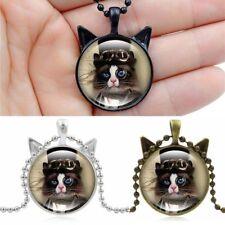 Cabochon Steampunk Gläser Katze Foto Glas Bronze Schwarz Anhänger Halskette