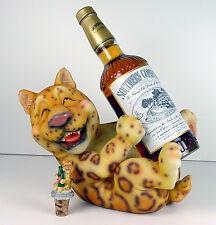 Adorable Leopard Ocicat Spotted Cat Wine Liquor Holder Matching Topper NIB CuTE!