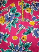 Robert Kaufman 1 3/4 yards sewing fabric bold floral pink blue turquoise